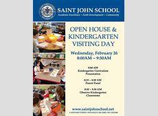 Kindergarten Visiting Day Open House flyer St John the