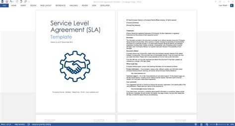 sla template service level agreement template 2 ms word 3 free excel