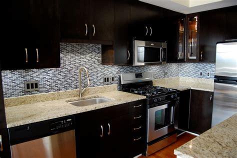 dark cabinets tile backsplash the interior design