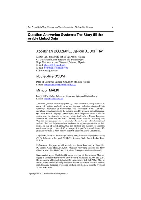 (PDF) Question answering systems: the story till the