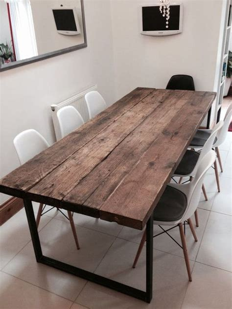 mobilier cuisine vintage reclaimed industrial chic 6 8 seater solid wood and metal