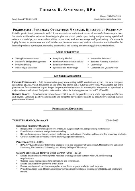 Professional Expertise In Resume by Resume Exle For Pharmacist Vacancy