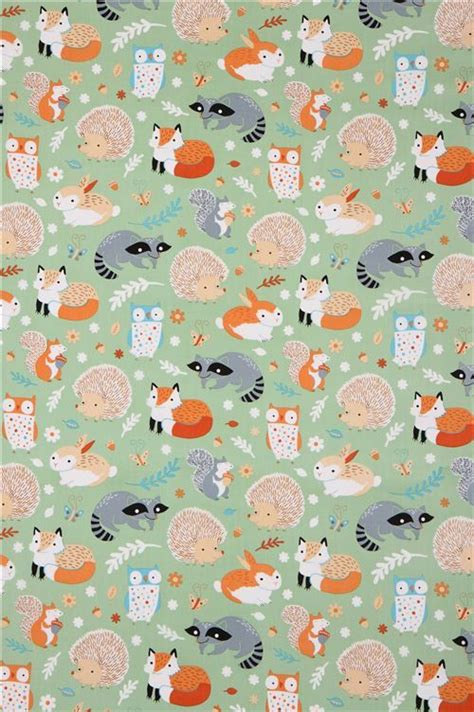 Animal Pattern Wallpaper - green forest animal clothworks organic fabric critter