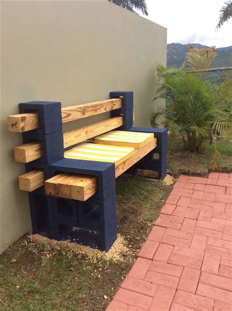concrete block  wood bench   diy concrete