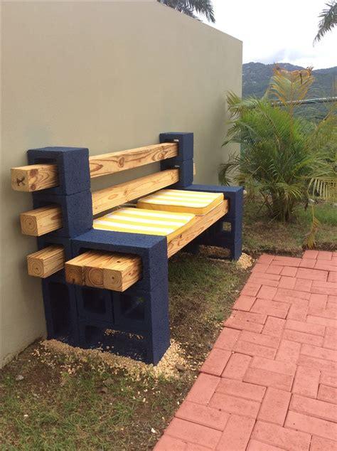 concrete block  wood bench diy concrete patio diy