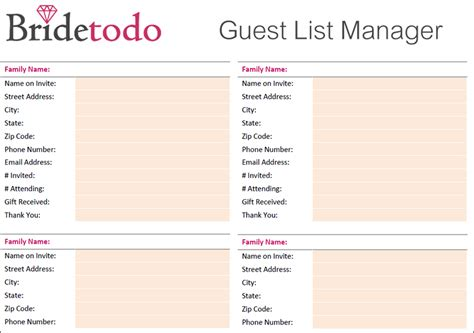 Wedding Guest List Template 7 Wedding Guest List Template Free Word Excel Pdf Formats