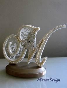 wedding cake topper monogram letter m ivory lace by With letter m wedding cake topper