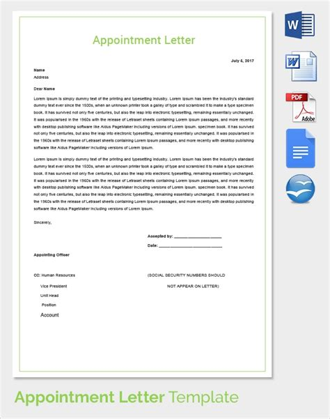 sample appointment letters   google