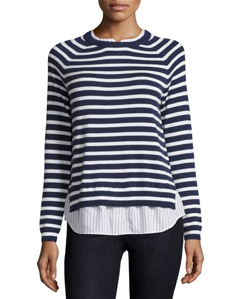 sweater blouse combo joie zaan striped sweater shirt combo top in blue lyst