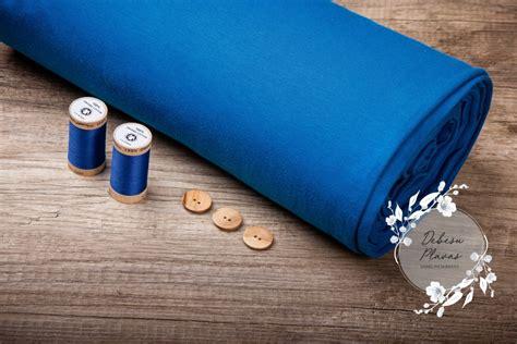 GOTS sertificēts manžetu audums trubiņā, zils