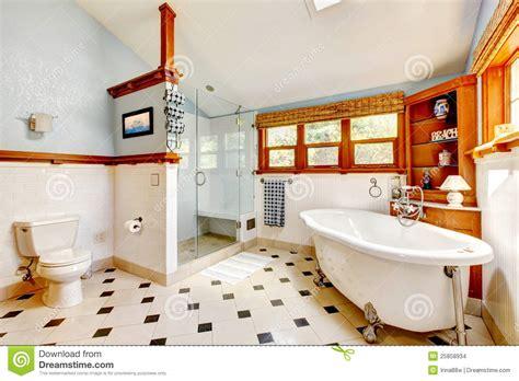 large antique classic blue bathroom interior stock photo