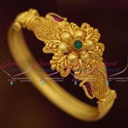 antique gold jhumka earrings b7666 floral gold design one gram open kada bracelets