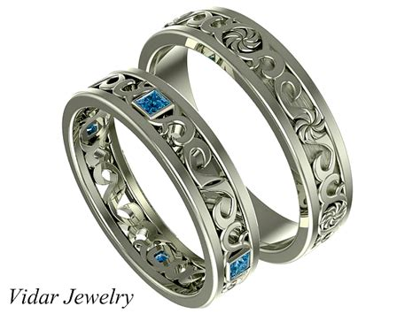 Princess Cut Blue Diamond His And Her Ring Set