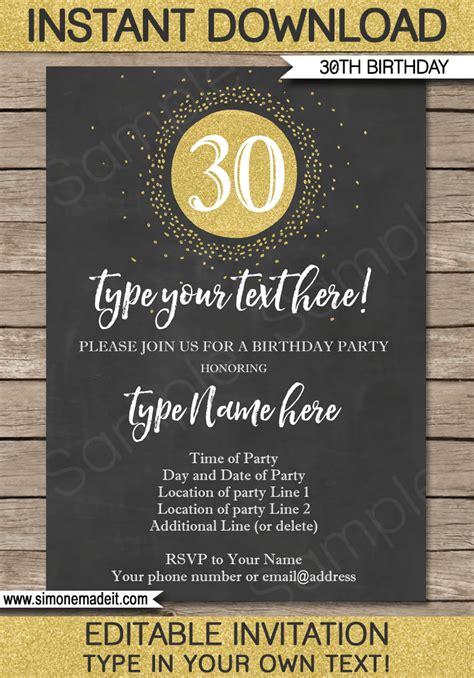 chalkboard  birthday invitations template gold glitter