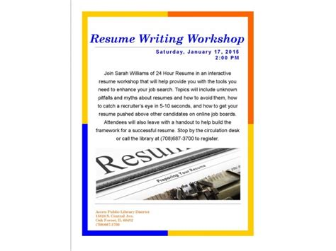 resume writing workshop saturday january 17 2 00 pm
