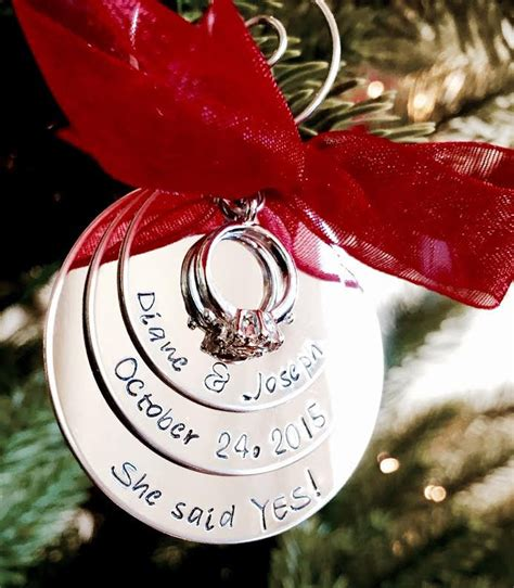 sale personalized christmas ornament she said yes engagement