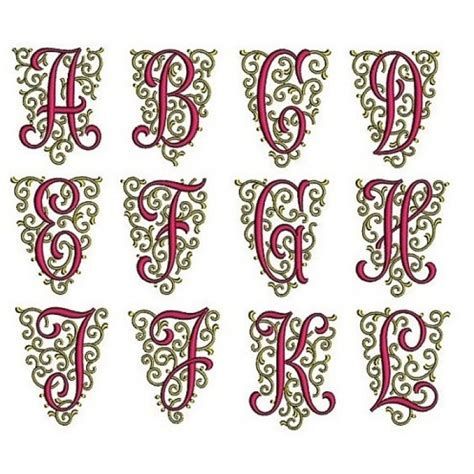 fancy font monogram   machine embroidery design instant   files