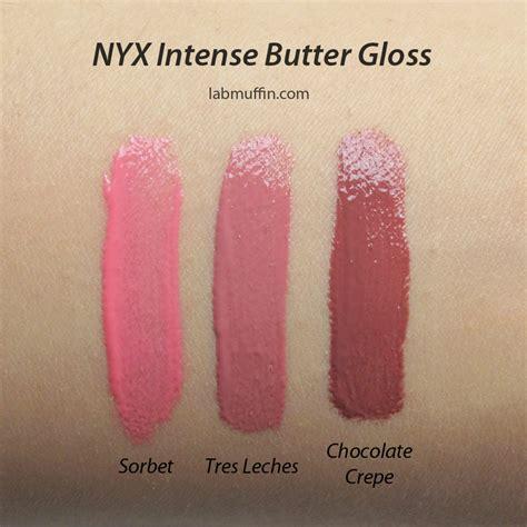 nyx butter gloss  intense butter gloss swatches