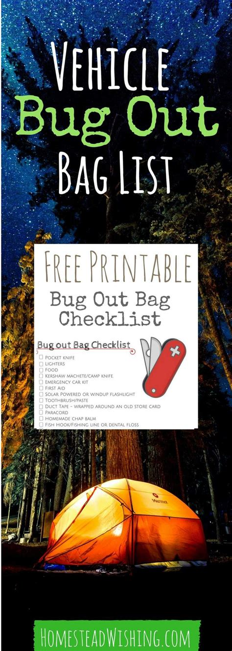 bag checklist bug vehicle survival emergency printable kits bugout kit food preparedness pdf prepping items bags homestead stuff homesteadwishing skills