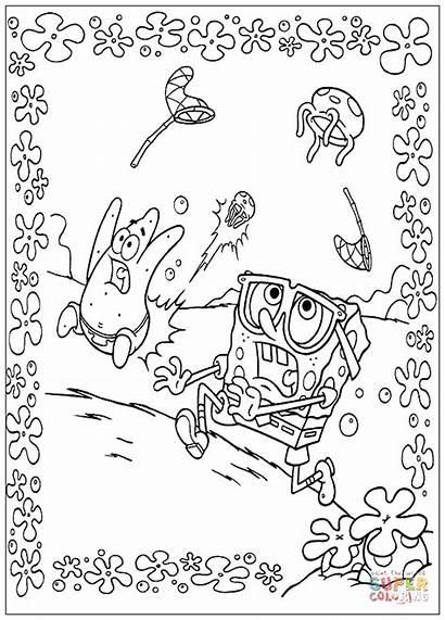 Spongebob Coloring Bob Kolorowanki Esponja Jellyfish Colorare