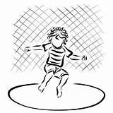Trampoline Coloring Riccio Jumping Child Curly Springt Gelocktes Kind Eine Illustrations Vectors Clipart Bambino Illustrazioni Trampolino Salta Che sketch template