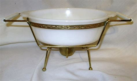 vintage mid century modern fire king casserole chafing dish holder candle