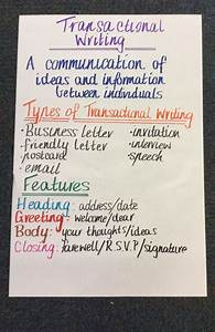 Anchor Charts For Reading Transactional Writing Anchor Chart Writing Anchor Charts