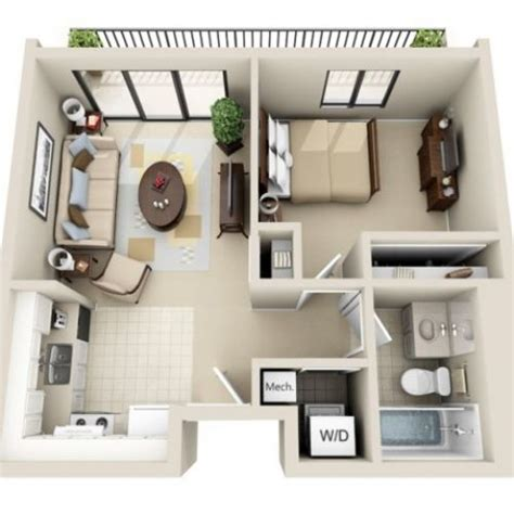 small one house plans 3d floor plan image 2 for the 1 bedroom studio floor plan
