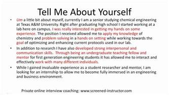 resume tell me about yourself exles sle answer tell me about yourself