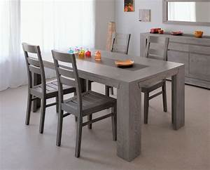 table rectangulaire preston chene grise With table de salle a manger grise