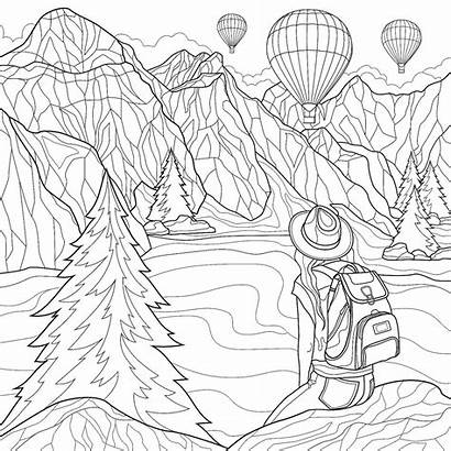 Coloring Pages Adults Places Travel Scenic Printable