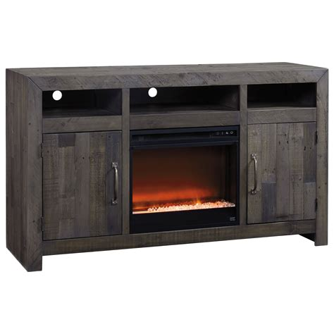 tv cabinet with fireplace signature design by mayflyn reclaimed solid wood 6412