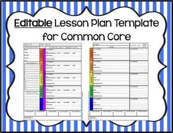 editable lesson plan editable lesson plan template for k 6 common miller and common cores