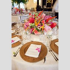 Bold Tropical Floral Reception Table Centerpiece  Food