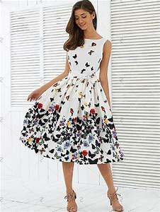 New Fashion Women Vintage Dress Butterfly Printing ...