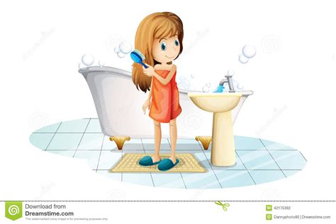 Filter For Bathtub Faucet by A Combing Her Hair Vector Illustration
