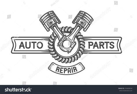 Repair Service Gear Pistons Auto Emblem Stock Vector