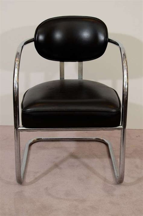 pair of mid century tubular chrome and vinyl chairs at 1stdibs