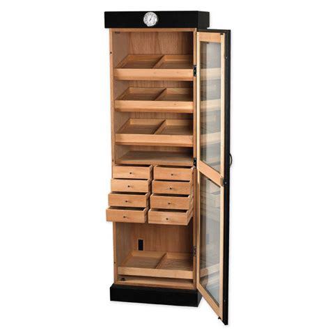 Cigar Cabinet Humidor Plans by Upright Humidor Cabinet 3000 Cigars Black Oak Ebay