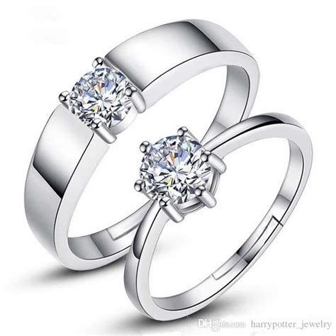 designer forever wedding rings pair rings jewelry adjustable size silver plated