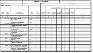 Transmittal Sheet Template Submittal Register