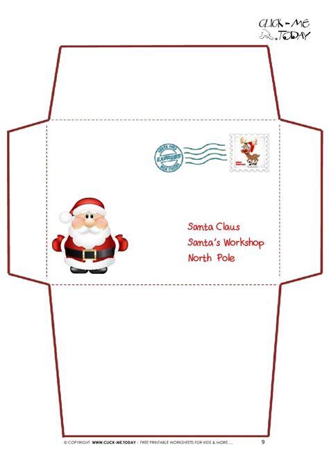 printable letter  santa claus envelope template cute