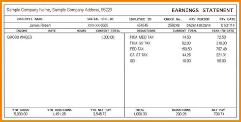 independent contractor pay stub template 5 pay stub exle sles of paystubs