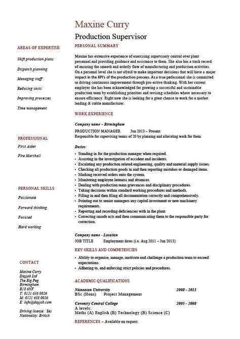 production supervisor resume sample  template