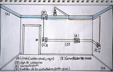 esquema o circuito con tres llaves conmutadas conmutacion