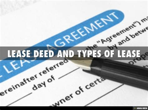 Lease Deed And Types Of Lease