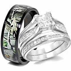 his and wedding ring sets his titanium camo hers sterling silver wedding rings set camouflage black 3pcs ebay