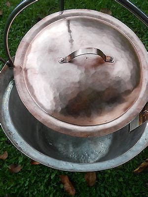 hand  copper cauldron picnic kettle campfire pot  liter  gall wood iron copper craft