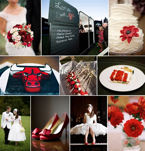 sports themed wedding ideas chicago bulls inspired red