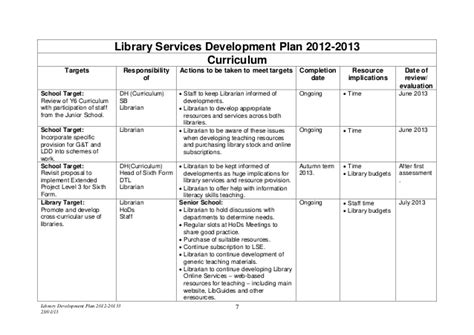 library strategic plan template library development plan 2012 2013